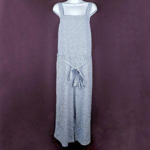 BEACHLUNCHLOUNGE Talia Stripe Linen Jumpsuit L